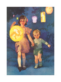 Children with Chinese Lantern