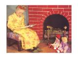 Little Girl Reading to Dolls