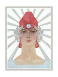 Art Deco Woman with Laurel Wreath and Red Hat