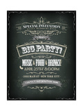 Retro Party Invitation on Chalkboard