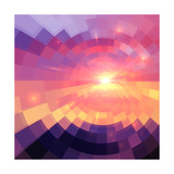Magic Sunset in Abstract Stained Glass