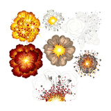 Explosions-Set of Various Illustrations