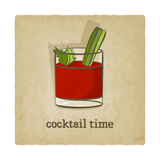 Old Background with Cocktail Reproduction d'art par Natbasil