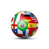 Brazil 2014 Football Soccer Ball with World Teams Flags