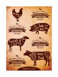 Diagram of Cut Carcasses Chicken, Pig, Cow, Lamb Reproduction d'art par 111chemodan111