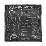 Holiday Food Menu Set Hand Drawn on Chalkboard
