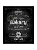 Bakery Label Poster  Chalk Typographic Design