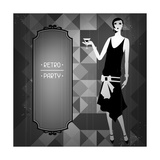 Retro Party Background with Beautiful Girl of 1920s Style