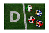 Soccer Balls with Flags of Uruguay  Costa Rica  England  Italy