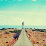View of Beacon Far De Barbaria in Formentera, Balearic Islands, Spain, with a Retro Effect Reproduction d'art par Nito