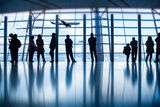 Travelers Silhouettes at Airport Beijing