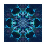 Beautiful Fractal Flower in Blue and Black