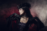 Romantic Gothic Girl in Victorian Style Clothes  Shot over Smoky Background