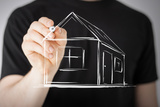 Real Estate  Technology and Accomodation - Picture of Man Drawing a House on Virtual Screen