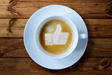 Thumbs Up or Like Symbol in Coffee Froth
