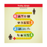 Fitness and Diet Infographic Reproduction d'art par Marish