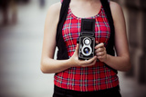 Young Urban Unrecognizable Vintage Photographer with Old 6X6 Camera