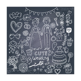 Vintage Wedding Set in Cartoon Style on Chalkboard Background