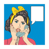 Woman Chatting on the Phone  Pop Art Illustration