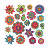 Collection of Doodle Style Flowers or Mandalas