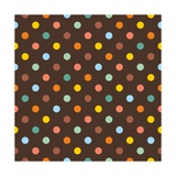 Pattern or Texture with Colorful Polka Dots on Dark Brown Background