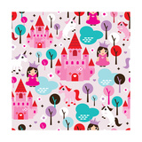 Kids Princess Castle and Unicorn Illustration Background Pattern