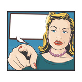 Vintage Comic Style Pointing Woman