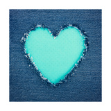 Turquoise Vintage Heart on Blue Denim Fabric