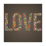 Love Word Made of Flowers  Birds and Leafs