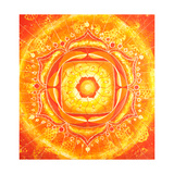 Abstract Orange Painted Picture with Circle Pattern  Mandala of Svadhisthana Chakra