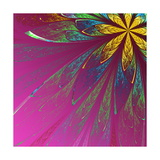 Beautiful Fractal Flower in Green and Yellow on Violet Background