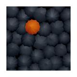 Top View of Many Black Umbrellas  One Orange