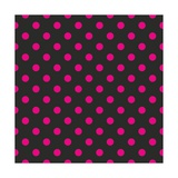 Pattern or Texture with Neon Pink Polka Dots on Black Background
