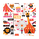 Kids Circus Fun Fair Illustration Fabric Background Pattern