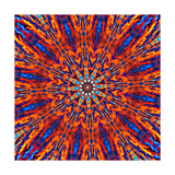 Computer Generated Tie Dye Kaleidoscope Created from a Photograph of a Sunset
