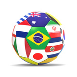 Football and Flags Representing All Countries Participating in Football World Cup in Brazil in 2014