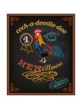 Chalkboard Poster for Chicken Restaurant Reproduction d'art par LanaN.