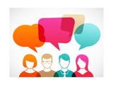People Icons with Colorful Dialog Speech Bubbles Reproduction d'art par Marish