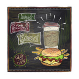 Best Fast Food Chalkboard Design with Hamburger  French Fries and Coffee