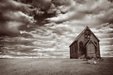Abandoned Church in the Desert  with Stormy Skies