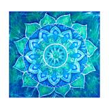 Abstract Blue Painted Picture with Circle Pattern, Mandala of Vishuddha Chakra Reproduction d'art par Shooarts