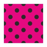 Pattern or Texture with Black Polka Dots on Neon Pink Background