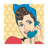 Woman Chatting on the Phone  Pop Art Illustration