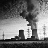 Cooling Towers of a Nuclear Power Plant Creating Dark Clouds Monochrome Film Grain