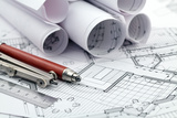 Rolls of Architecture Blueprint and Work Tools - Ruler  Pencil  Compass