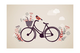 Vintage Retro Bicycle Background with Flowers and Bird Reproduction d'art par Marish