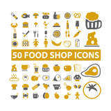 50 Food Shop Icons  Signss Set
