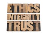 Ethics  Integrity  Trust Word