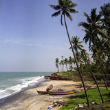 A Beach in Kerala  India  with Two Small Fishing Boats