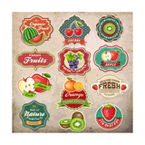 Vintage Retro Grunge Fresh Fruit Labels  Badges and Icons